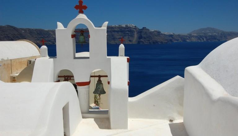 Santorin Blick aufs Meer
