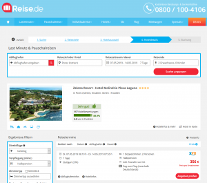 Screenshot Kroatien Deal Zelena Resort - Hotel Molindrio Plava Laguna